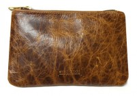 Custom made distressed leather pouch