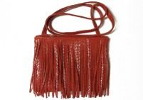 Chili red side fringe leather bag