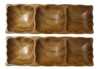 Acacia wood appetizer trio platter