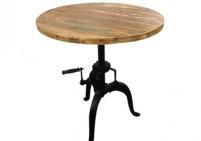 Height adjustable industrial wood top bar table